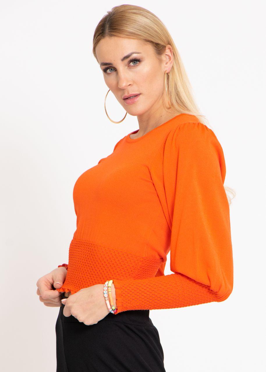 Pullover mit hohem Smokbund, orange