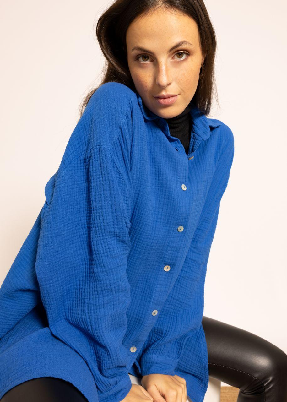 Ultra oversize Blusenhemd, royalblau