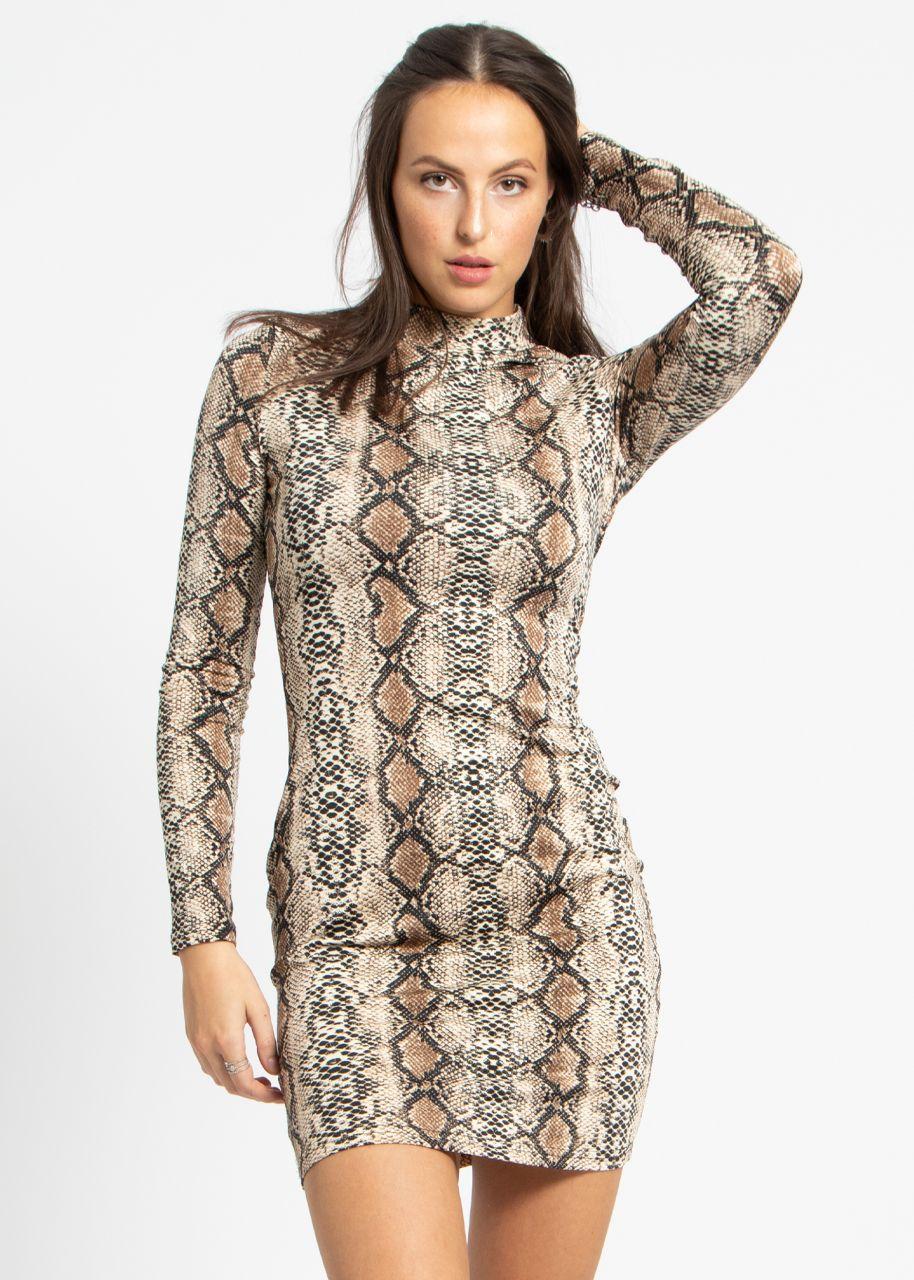 Mini Snake-Kleid aus Jersey, beige