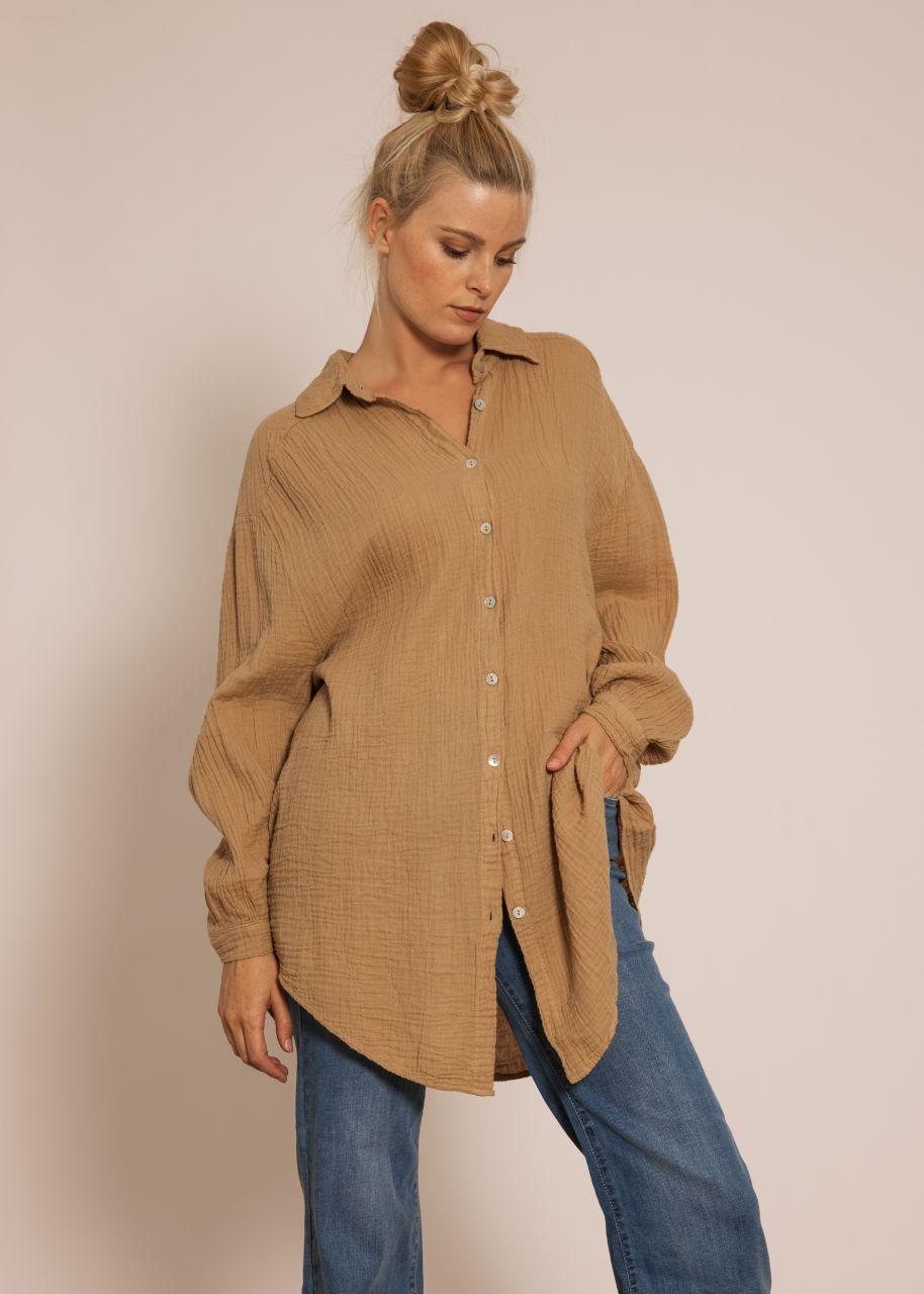 Ultra oversize Blusenhemd, camel