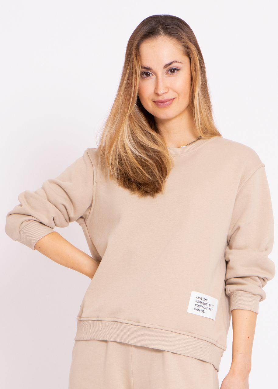Sweatshirt mit Patch, beige