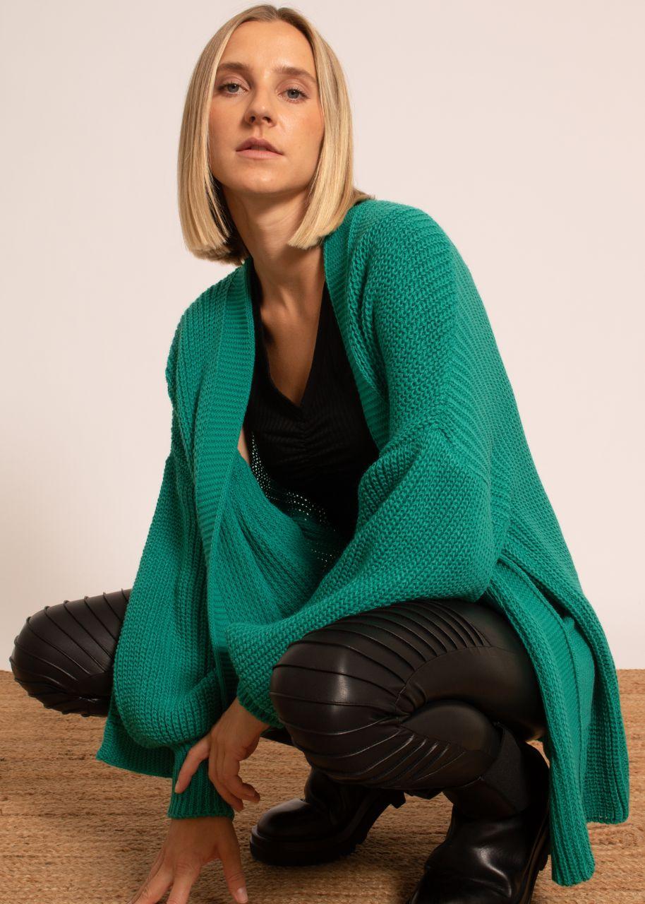 Strick-Cardigan mit Taschen, grün