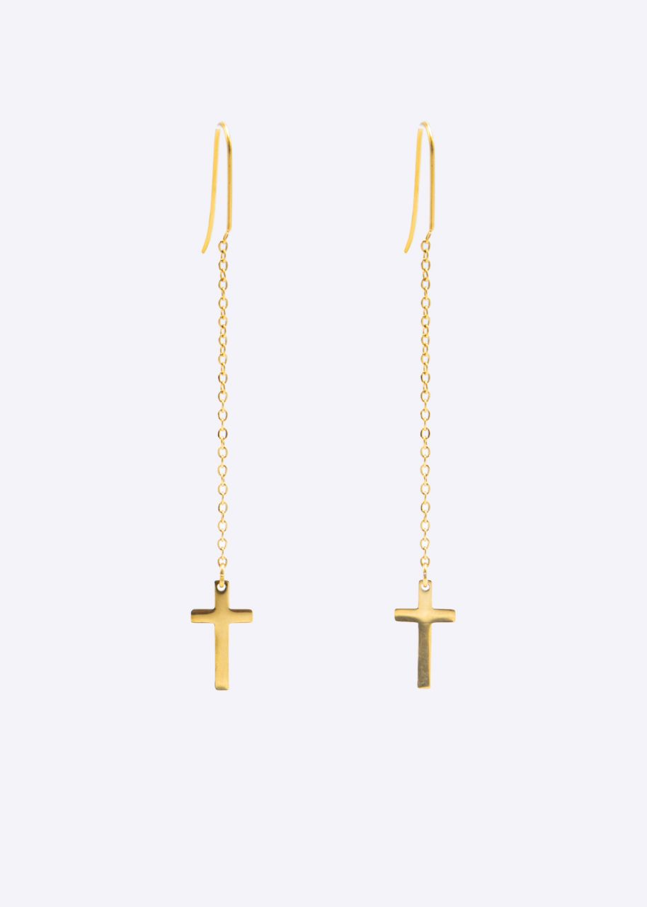 Kreuz-Ohrringe, gold