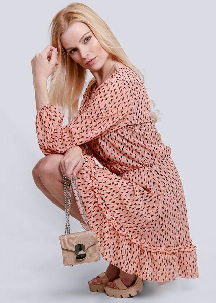 Kleid mit Wickel-Optik und Tupfen-Print, lachs