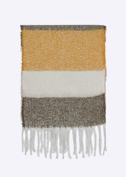 Streifen-Schal mit Fransen, gelb/offwhite/taupe