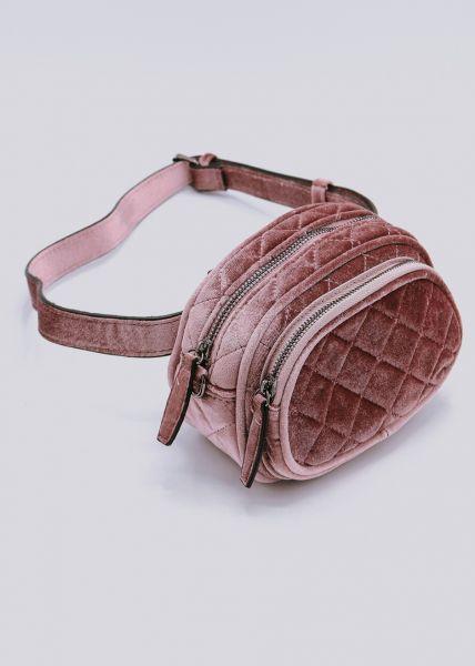 Gürteltasche / Tasche aus Samt, rosa