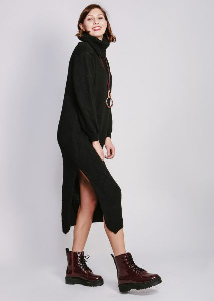 Maxi-Strickkleid mit Rollkragen, schwarz