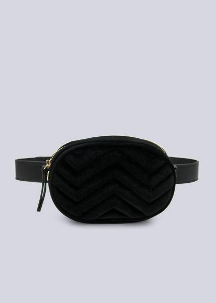 Ovale Gürteltasche/Tasche aus Samt, schwarz