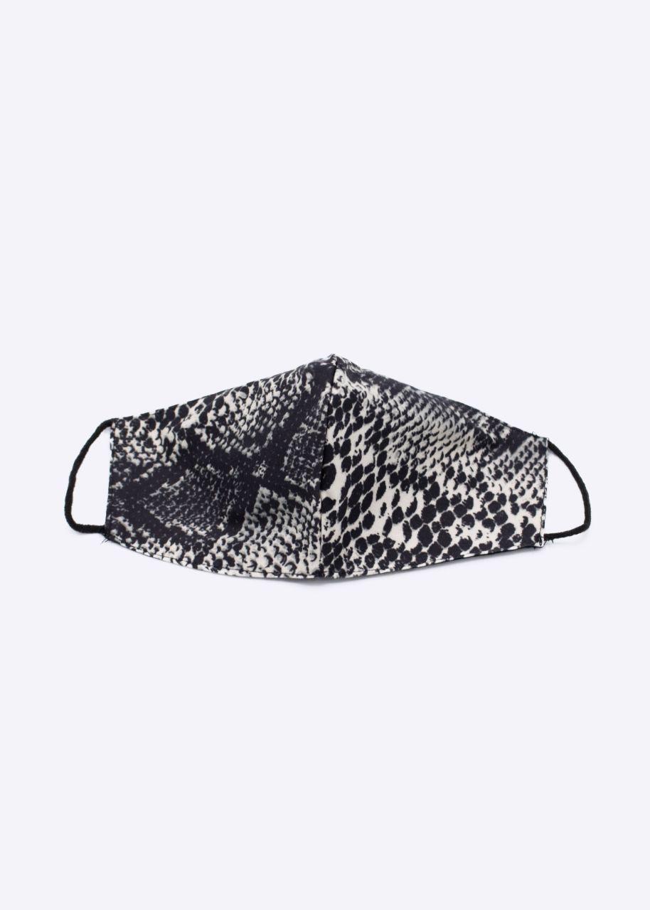 Stoffmaske mit Snake-Print, grau