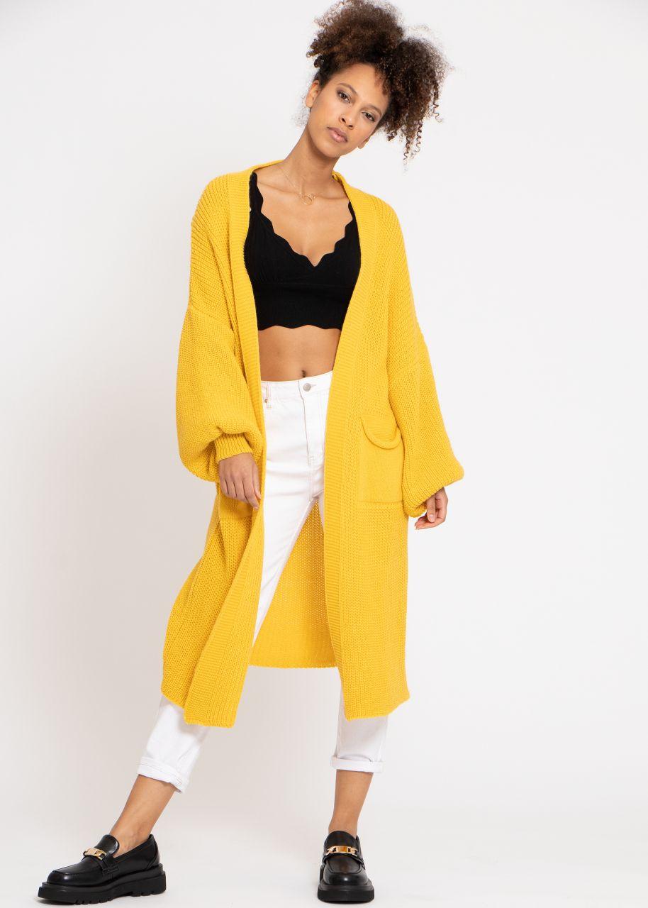Maxi Cardigan mit Taschen, gelb
