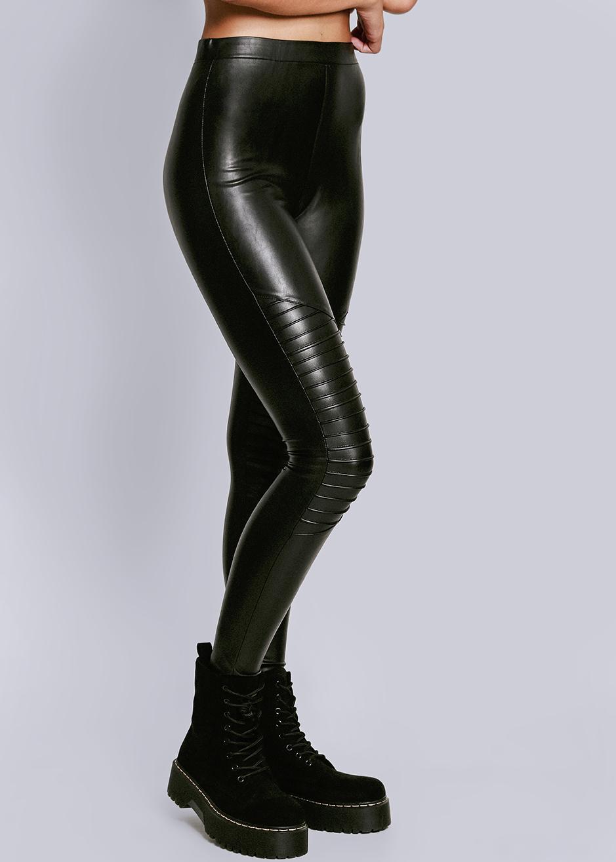 Leder Leggings mit Absteppung schwarz