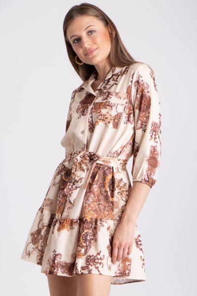 Hängerchenkleid mit Print, weiß