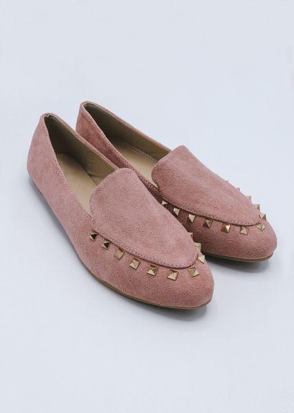 Loafer mit Nieten, rosa