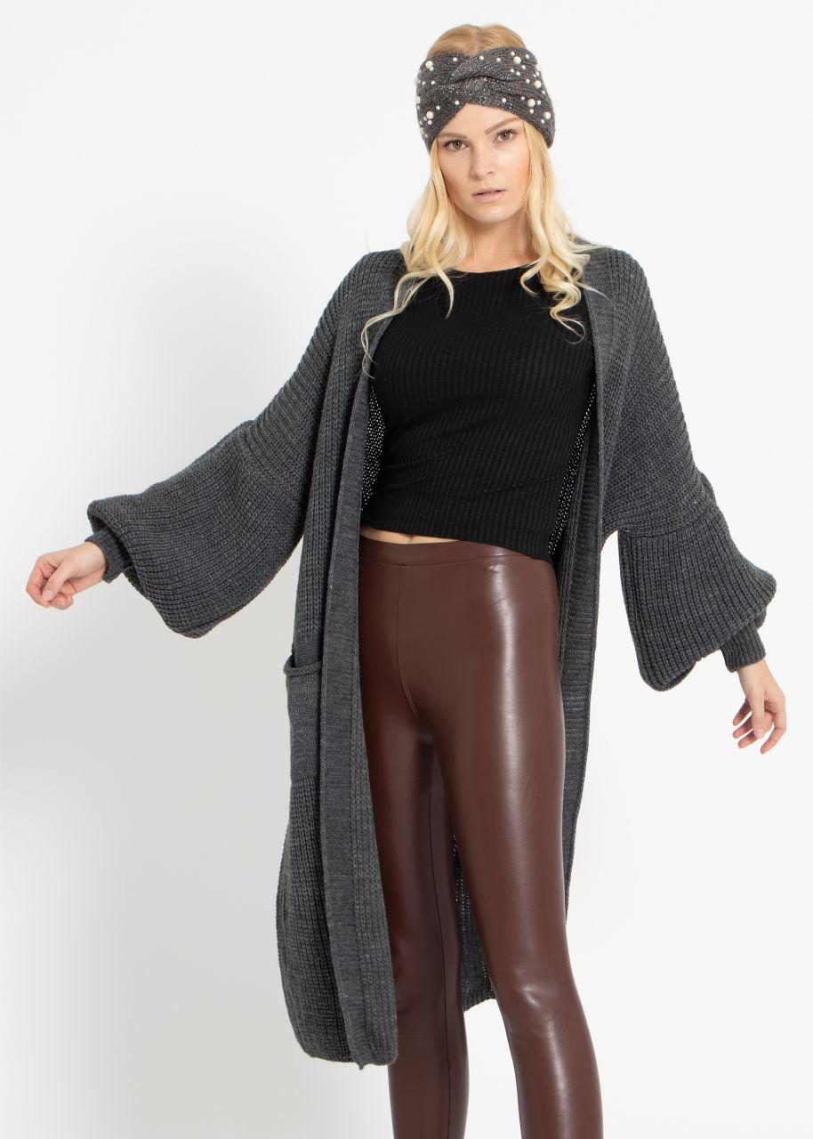 Maxi Cardigan mit Taschen, dunkelgrau