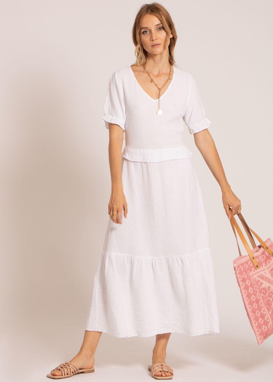 Musselin Maxi Kleid, weiß