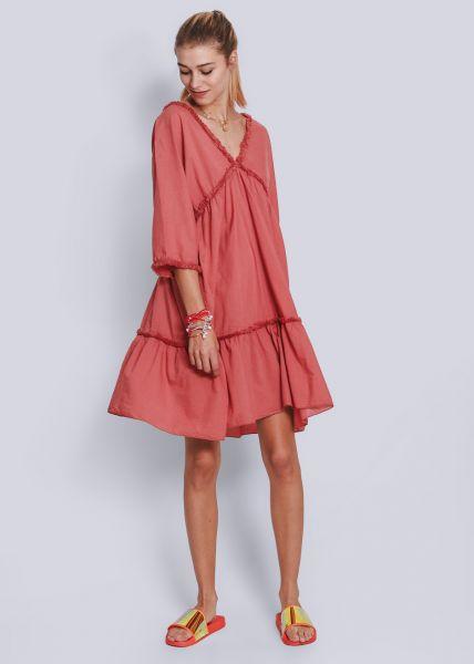 Oversize Kleid mit Fransenborten, terracotta