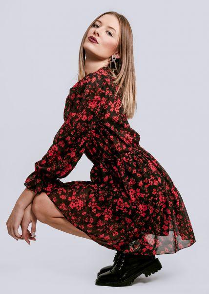 Volants-Kleid mit Blumen-Print, schwarz/rot