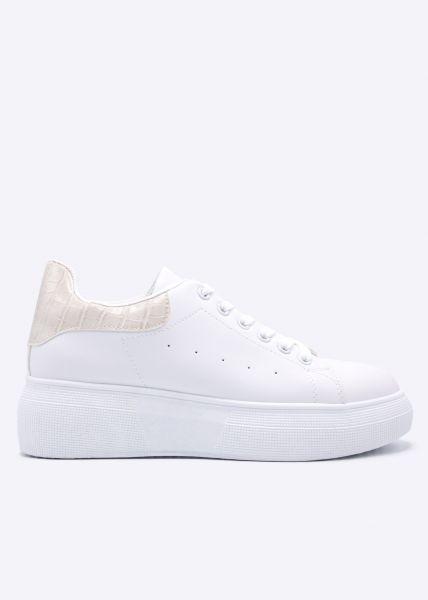 Plateau-Sneaker mit beige Kroko-Ferse, weiß