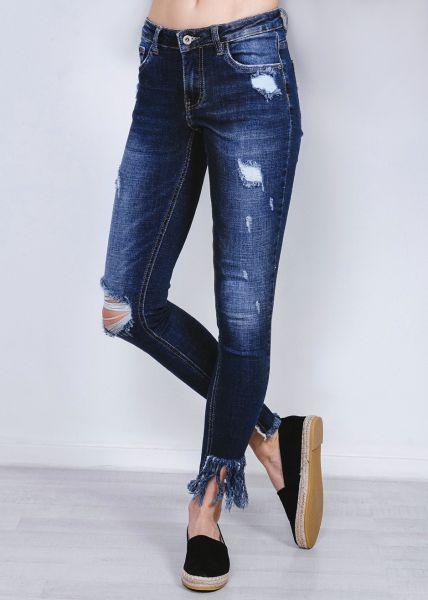 Destroyed midwaist Jeans mit Fransen