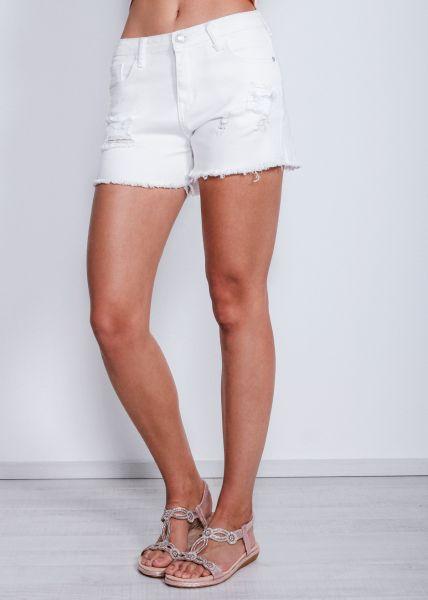Shorts aus Denim, weiß
