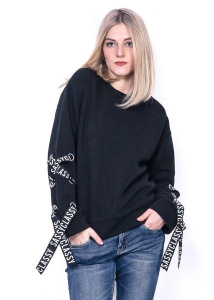 Sassy Sweatshirt mit lace-up, schwarz