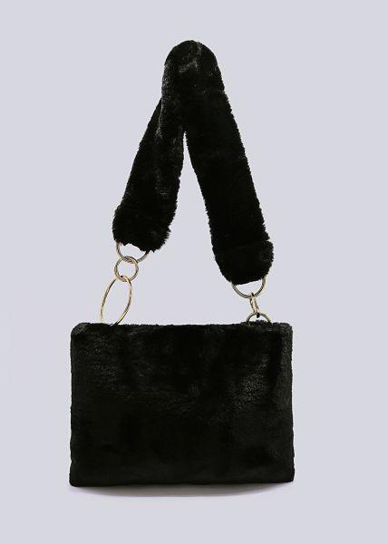 Umhängetasche aus Kunstfell, schwarz