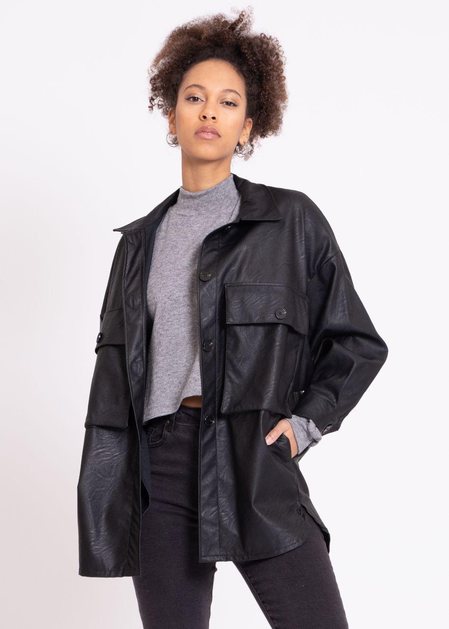 Leder-Jacke mit Taschen, schwarz