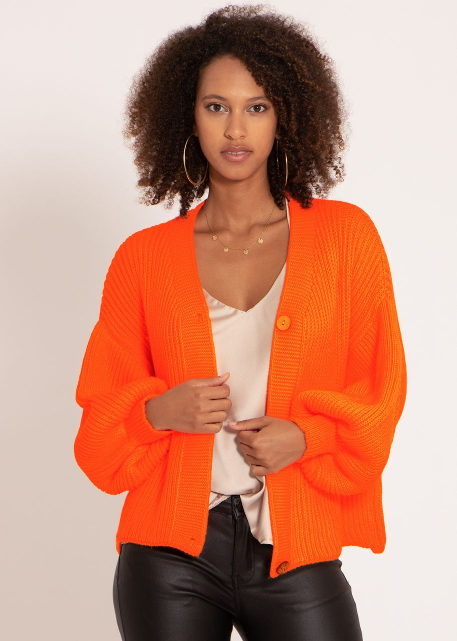 Strickjacke mit weiten Ärmeln, orange