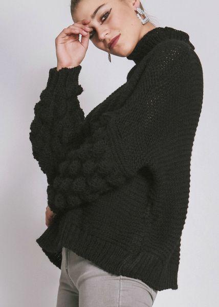 Pullover mit voluminösen Ärmeln, schwarz