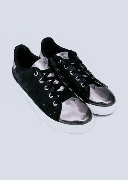 Sneaker mit Lochmuster, schwarz