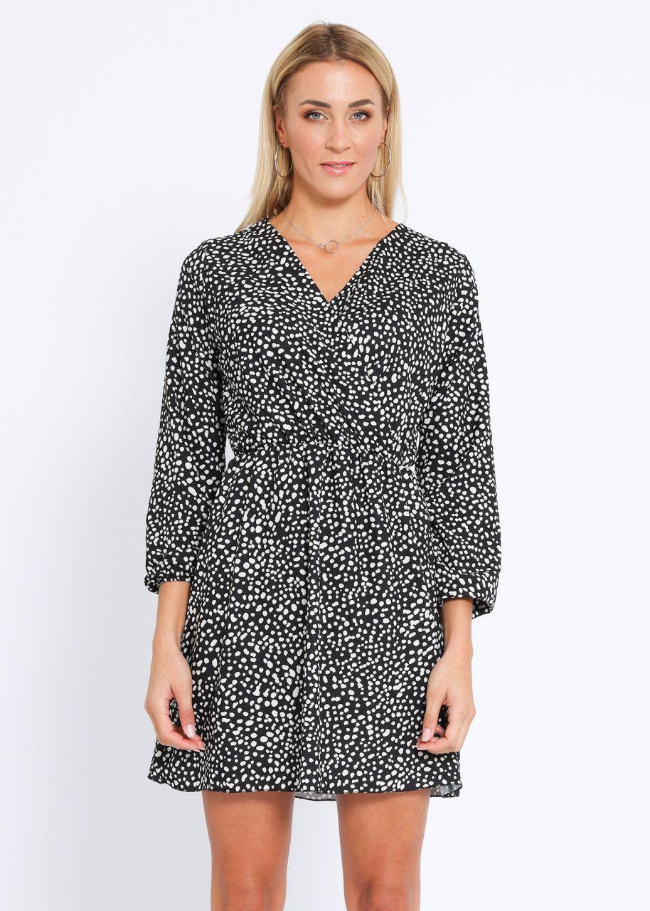 Tupfen-Kleid mit gewickeltem Oberteil, schwarz