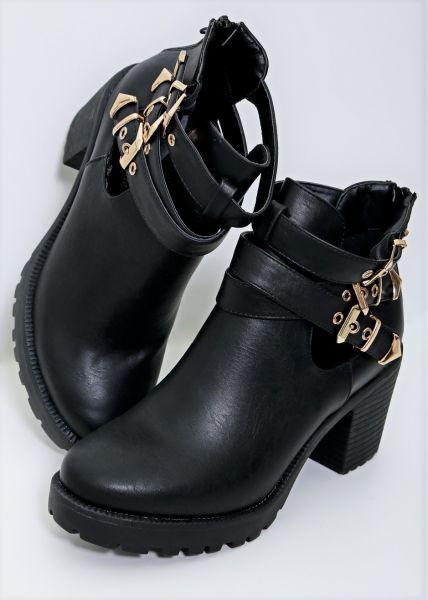 Cut-Out Boots mit 3 Schnallen, schwarz