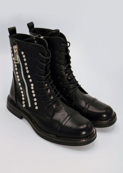 Stiefel mit Reißverschluss und Nieten, schwarz