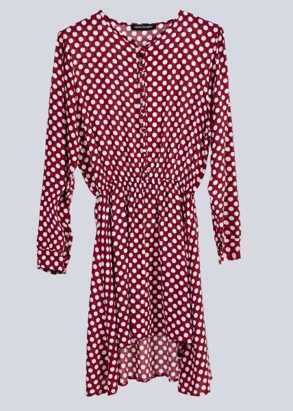 Tupfen-Kleid, weinrot