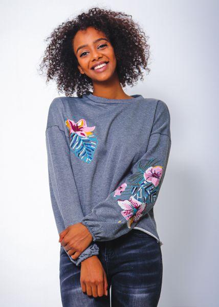 Sweatshirt mit Stickerei, grau