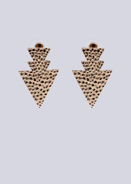 Pfeil-Ohrringe mit Prägung, gold