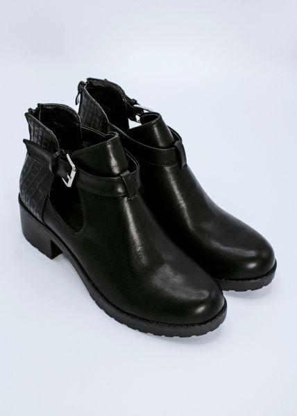 Boots mit Cut-Outs, schwarz
