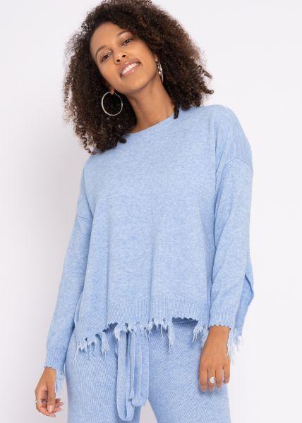Destroyed Pullover, blau