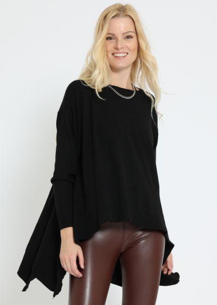 Oversize Pullover, hinten lang, schwarz