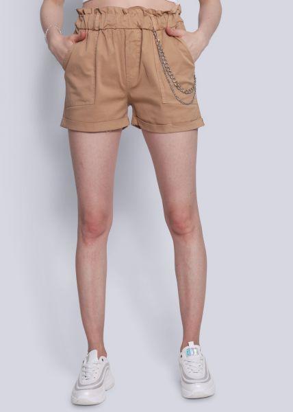 Shorts mit Ketten, beige