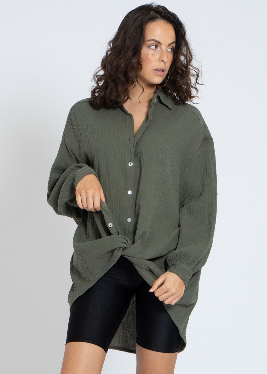 Ultra oversize Blusenhemd, khaki