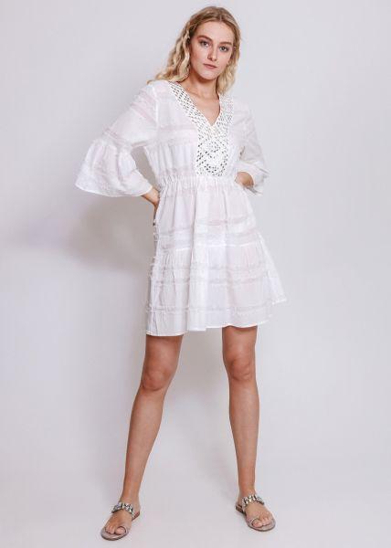 Strandkleid mit silbernen Schmuckdetails, weiß