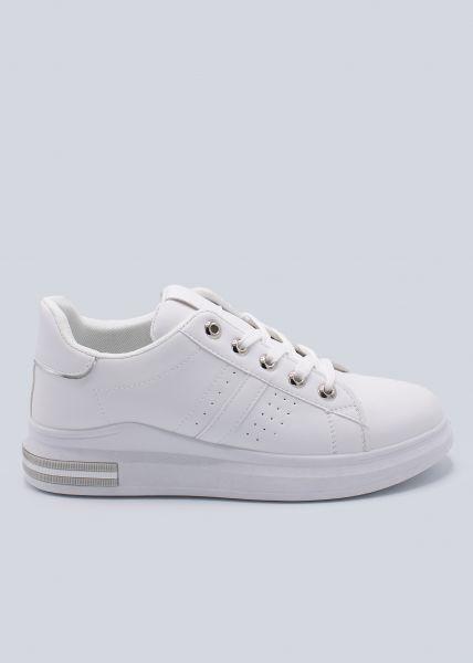 Plateau-Sneaker mit silber Detail, weiß