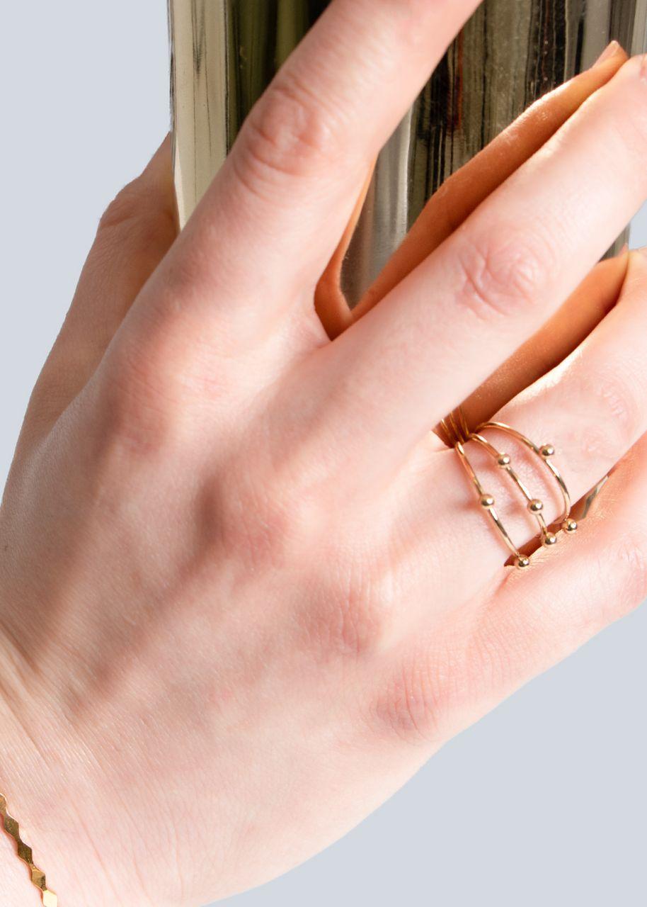 Filigraner Ring mit Kugeln, gold