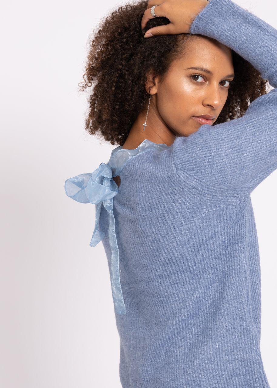 Pullover mit Organzaschleife, blau