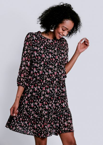 Kleid mit Bubi-Kragen und Blumenprint, schwarz