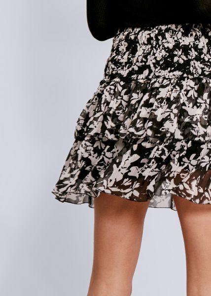 Volants-Rock mit Blumen-Print, schwarz
