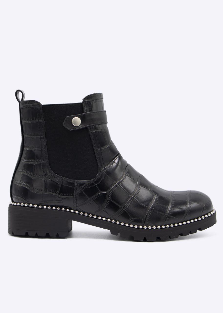 Kroko-Chelsea-Boots mit silbernen Perlchen, schwarz