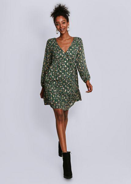 Kleid mit Blumen-Print und gold Druck, grün