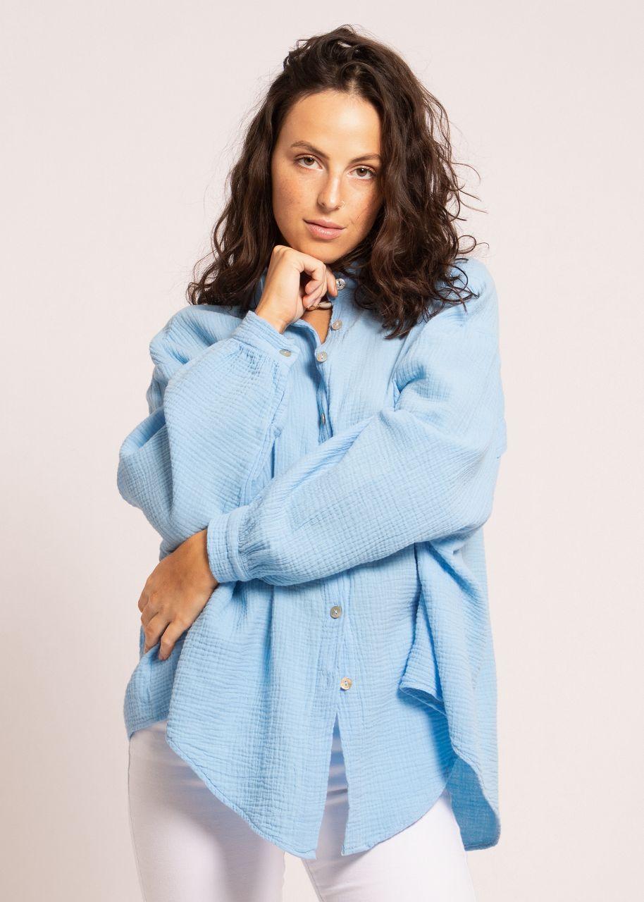 Ultra oversize Blusenhemd, kürzere Variante, hellblau